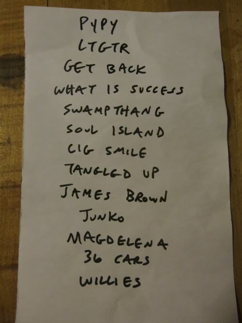 The night's setlist