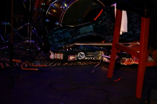 Mary's well-traveled guitar case