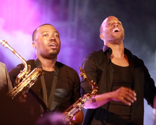 BK Jackson and Trombone Shorty (on stage after their walkbout)